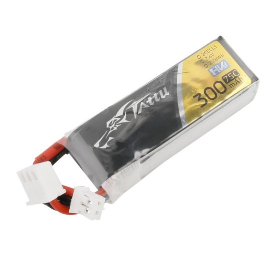 Tattu 300mAh 2S 75C 7.6V HV Lipo Battery JST-PHR-2P Long size