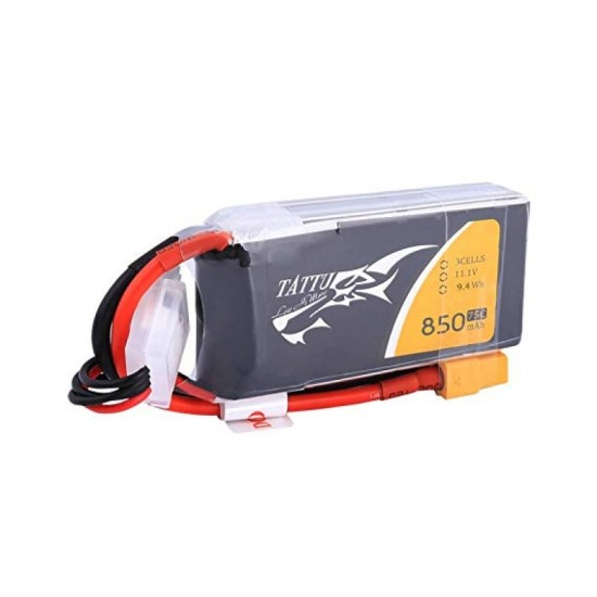 Tattu 850mAh 3S1P 75C 11.1V Lipo Battery XT30 Plug