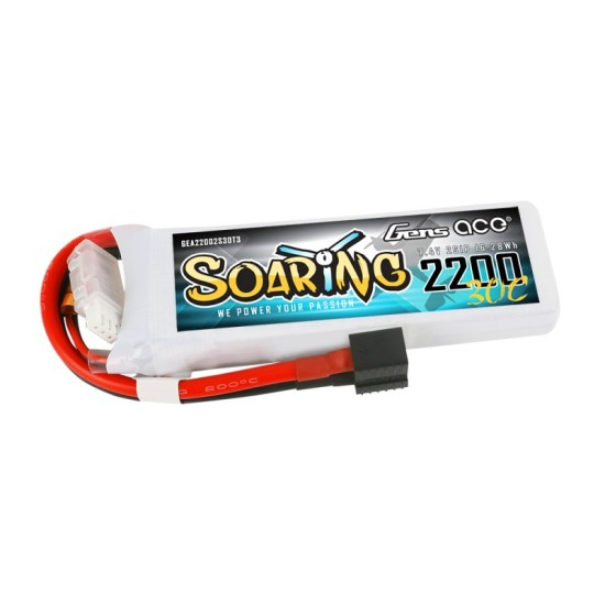 Gens ace Soaring 2200mAh 7.4V 30C 2S1P Lipo Battery EC3/XT60/T-plug