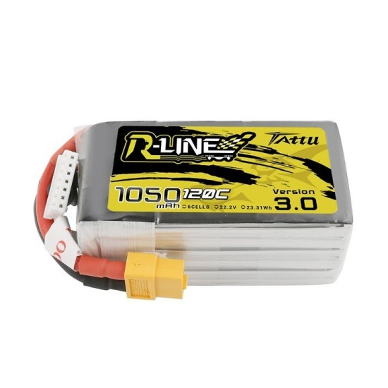 Tattu R-Line V3 1050mAh 120C 22.2V 6S1P Lipo Battery Pack with XT60 Plug