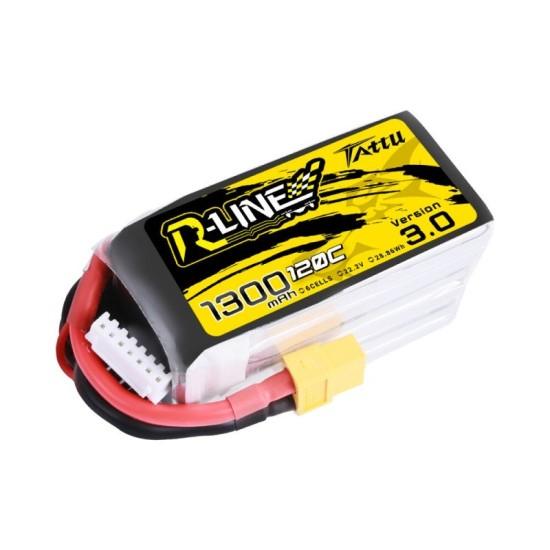 Tattu R-Line V3.0 1300mAh 22.2V 120C 6S1P Lipo Battery XT60