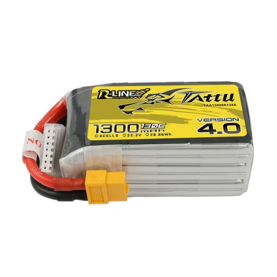 Tattu R-Line V4.0 1300mAh 22.2V 130C 6S1P Lipo Battery XT60