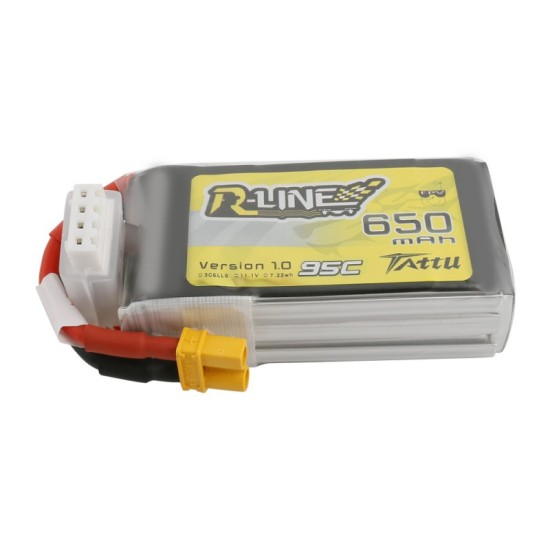 Tattu R-Line 650mAh 11.1V 3S1P 95C Lipo Battery XT30 Plug