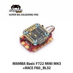 MAMBA Race Stack F722 Mini MK3 60A 3-6S ESC F60_BL32 32Bit FC M2 20*20mm