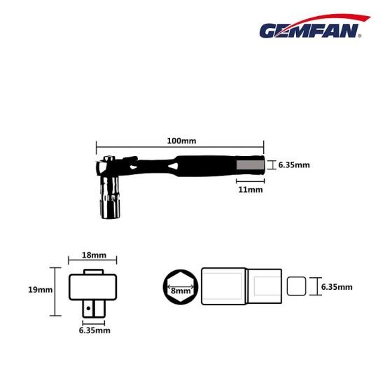 Gemfan Ratchet Prop Tool WL-06 1/4 8MM Socket Wrench